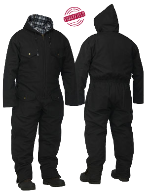 Black Canvas Quilted Coverall With Hood